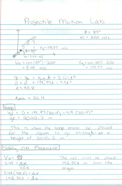 Projectile Motion Lab - Faith's AP Physics Lab Notebook